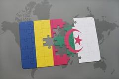 intryguje z flaga państowowa chad i Algeria na światowej mapie Zdjęcia Royalty Free