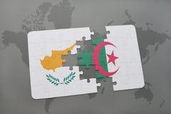 intryguje z flaga państowowa cibora i Algeria na światowej mapie Zdjęcia Stock