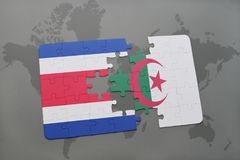 intryguje z flaga państowowa costa Algeria na światowej mapie i rica Obraz Royalty Free