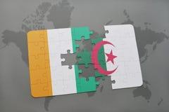 intryguje z flaga państowowa cote Algeria na światowej mapie i divoire Fotografia Royalty Free