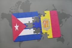 intryguje z flaga państowowa Cuba i Andorra na światowej mapy tle Obrazy Stock