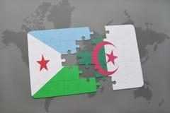 intryguje z flaga państowowa Djibouti i Algeria na światowej mapie Zdjęcie Stock