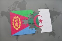 intryguje z flaga państowowa Eritrea i Algeria na światowej mapie Zdjęcie Stock