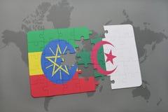 intryguje z flaga państowowa Ethiopia i Algeria na światowej mapie Zdjęcie Royalty Free