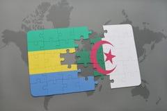 intryguje z flaga państowowa Gabon i Algeria na światowej mapie Zdjęcia Royalty Free