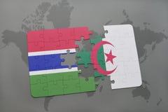 intryguje z flaga państowowa Gambia i Algeria na światowej mapie Zdjęcia Royalty Free