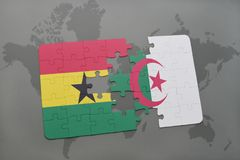 intryguje z flaga państowowa Ghana i Algeria na światowej mapie Zdjęcie Royalty Free