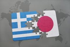 intryguje z flaga państowowa Greece i Japan na światowej mapy tle Obraz Royalty Free