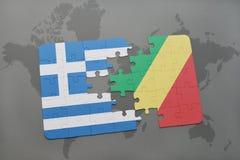 intryguje z flaga państowowa Greece i republika Congo na światowej mapy tle Obraz Royalty Free