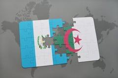 intryguje z flaga państowowa Guatemala i Algeria na światowej mapie Zdjęcie Stock