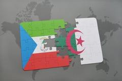 intryguje z flaga państowowa gwinea równikowa i Algeria na światowej mapie Zdjęcie Stock