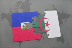 intryguje z flaga państowowa Haiti i Algeria na światowej mapie Zdjęcie Stock