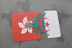 intryguje z flaga państowowa Hong Algeria na światowej mapy tle i kong Zdjęcie Stock