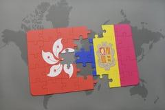 intryguje z flaga państowowa Hong Andorra na światowej mapy tle i kong Zdjęcie Stock