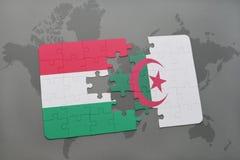 intryguje z flaga państowowa Hungary i Algeria na światowej mapie Obraz Stock