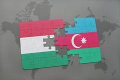 intryguje z flaga państowowa Hungary i Azerbaijan na światowej mapy tle Obrazy Royalty Free