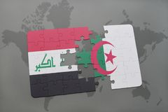 intryguje z flaga państowowa Iraq i Algeria na światowej mapy tle Obrazy Royalty Free