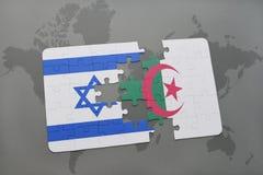 intryguje z flaga państowowa Israel i Algeria na światowej mapy tle Obrazy Stock