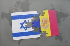 intryguje z flaga państowowa Israel i Andorra na światowej mapy tle Zdjęcia Royalty Free