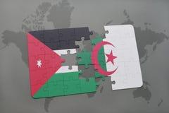 intryguje z flaga państowowa Jordan i Algeria na światowej mapy tle Zdjęcia Royalty Free