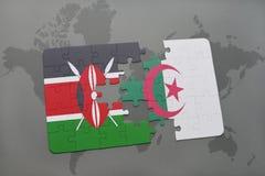 intryguje z flaga państowowa Kenya i Algeria na światowej mapie Zdjęcie Stock