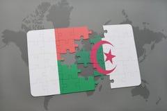 intryguje z flaga państowowa Madagascar i Algeria na światowej mapie Obrazy Royalty Free