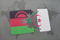 intryguje z flaga państowowa Malawi i Algeria na światowej mapie Fotografia Royalty Free