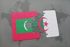 intryguje z flaga państowowa Maldives i Algeria na światowej mapie Obrazy Stock