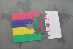 intryguje z flaga państowowa Mauritius i Algeria na światowej mapie Fotografia Royalty Free