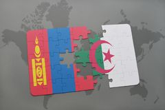 intryguje z flaga państowowa Mongolia i Algeria na światowej mapie Fotografia Royalty Free