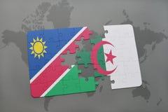 intryguje z flaga państowowa Namibia i Algeria na światowej mapie Obraz Royalty Free