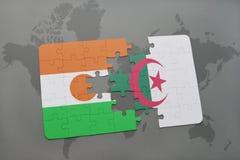 intryguje z flaga państowowa Niger i Algeria na światowej mapie Fotografia Royalty Free