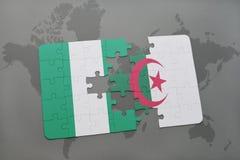 intryguje z flaga państowowa Nigeria i Algeria na światowej mapie Fotografia Royalty Free