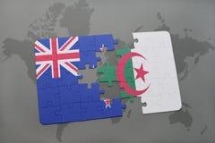 intryguje z flaga państowowa nowy Zealand i Algeria na światowej mapy tle Zdjęcie Stock