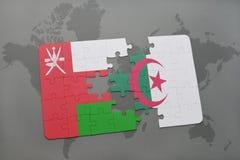 intryguje z flaga państowowa Oman i Algeria na światowej mapy tle Zdjęcia Royalty Free