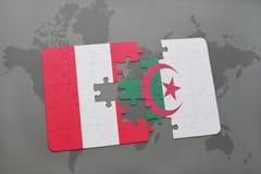 intryguje z flaga państowowa Peru i Algeria na światowej mapie Fotografia Stock