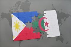 intryguje z flaga państowowa Philippines i Algeria na światowej mapie Obraz Stock