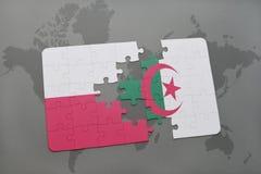 Intryguje z flaga państowowa Poland i Algeria na światowej mapy tle ilustracja 3 d ilustracji