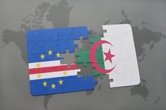intryguje z flaga państowowa przylądka Algeria na światowej mapie i verde Obraz Stock