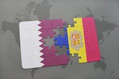 intryguje z flaga państowowa Qatar i Andorra na światowej mapy tle Obrazy Royalty Free
