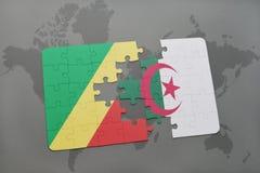 intryguje z flaga państowowa republika Algeria na światowej mapie i Congo Obraz Stock