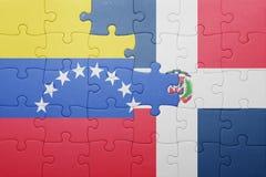 Intryguje z flaga państowowa republika dominikańska i Venezuela Obrazy Stock