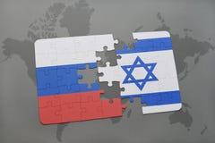 intryguje z flaga państowowa Russia i Israel na światowej mapy tle royalty ilustracja