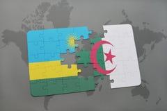 intryguje z flaga państowowa Rwanda i Algeria na światowej mapie Zdjęcie Royalty Free