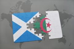 intryguje z flaga państowowa Scotland i Algeria na światowej mapie Zdjęcie Royalty Free
