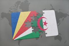 intryguje z flaga państowowa Seychelles i Algeria na światowej mapie Zdjęcie Royalty Free