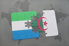 intryguje z flaga państowowa sierra leone i Algeria na światowej mapie Obrazy Royalty Free