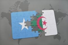 intryguje z flaga państowowa Somalia i Algeria na światowej mapie Zdjęcia Royalty Free
