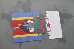 intryguje z flaga państowowa Swaziland i Algeria na światowej mapie Obrazy Stock