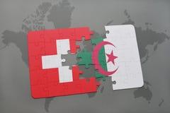 Intryguje z flaga państowowa Switzerland i Algeria na światowej mapy tle ilustracja 3 d Zdjęcia Royalty Free